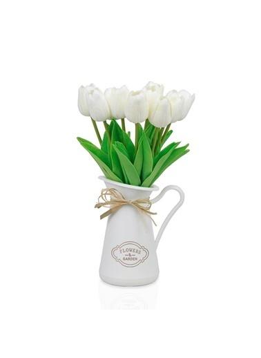 Çiçekmisin Beyaz Saksıda 10'lu Islak Lale Yapay Çiçek Beyaz